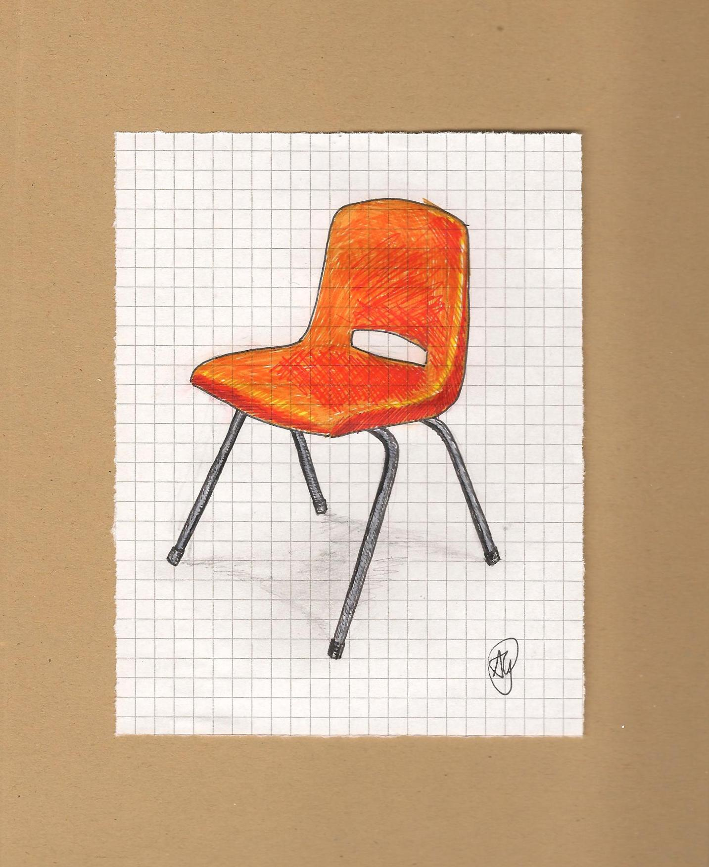 "Orange School Chair – ""To be an artist is to believe in life"