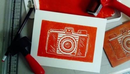 camera lino print