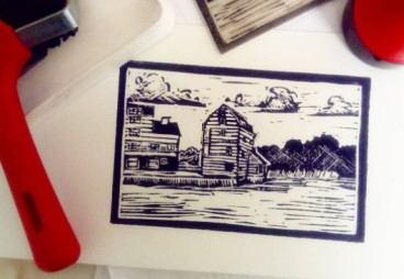 woodbridge tidemill lino unruly print